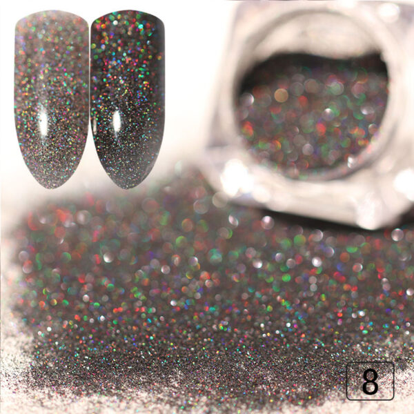 Gradient Shiny Nail Glitter Set Powder Laser Sparkly Nail Art Chrome Pigment Silver DIY Nail Art Decoration Kit